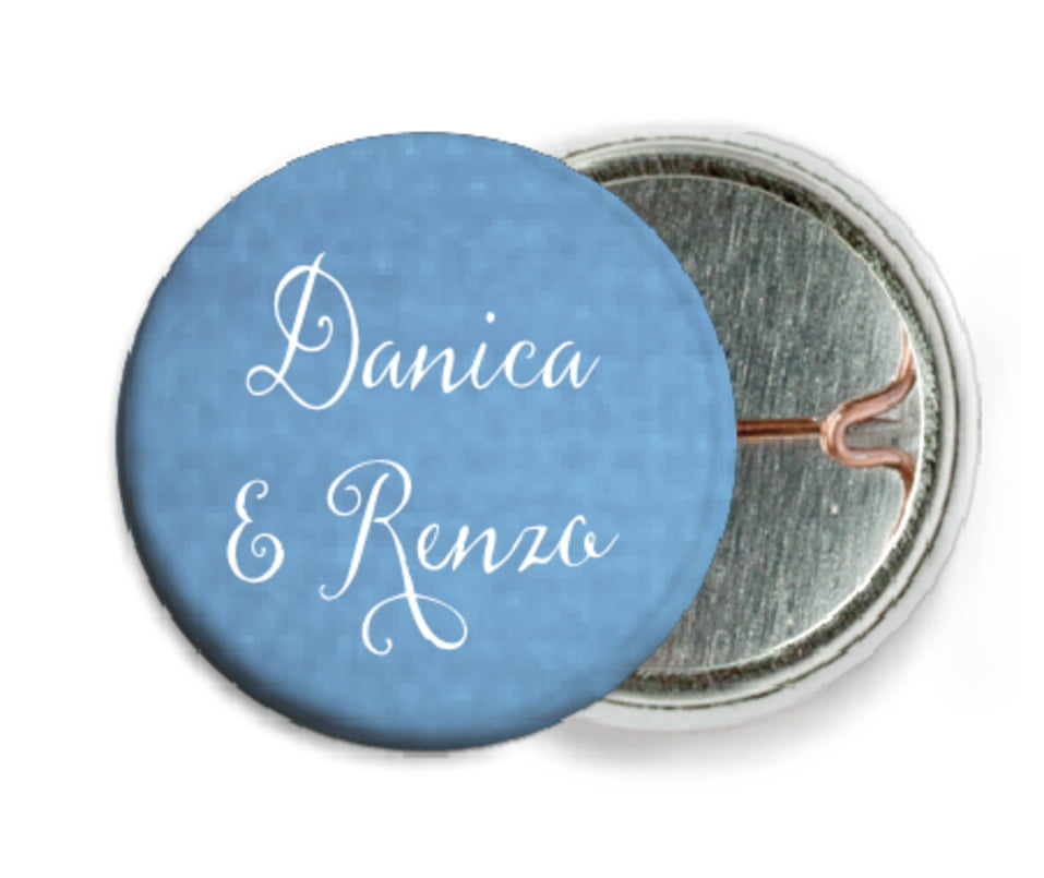 custom pin back buttons - blue - scallop edge (set of 6)