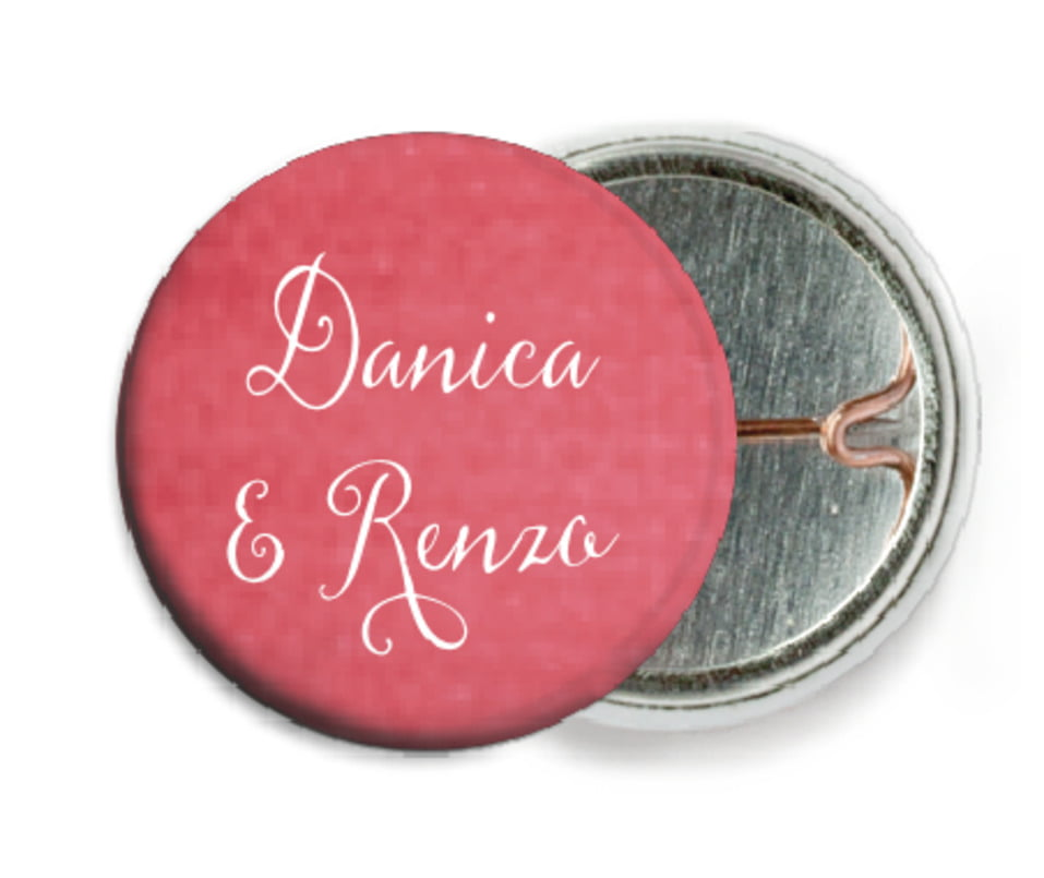 custom pin back buttons - deep coral - scallop edge (set of 6)
