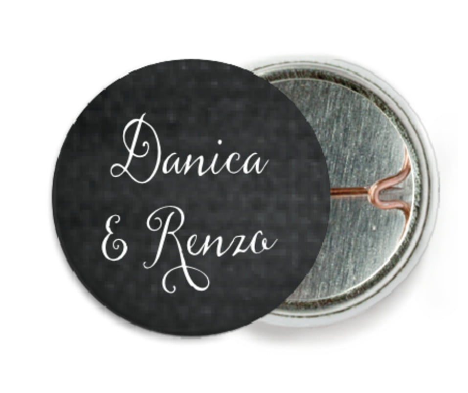 custom pin back buttons - tuxedo - scallop edge (set of 6)