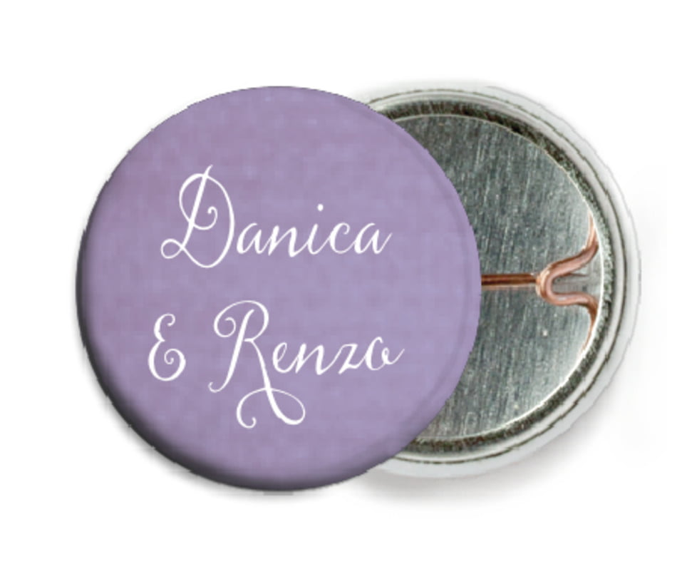 custom pin back buttons - lilac - scallop edge (set of 6)