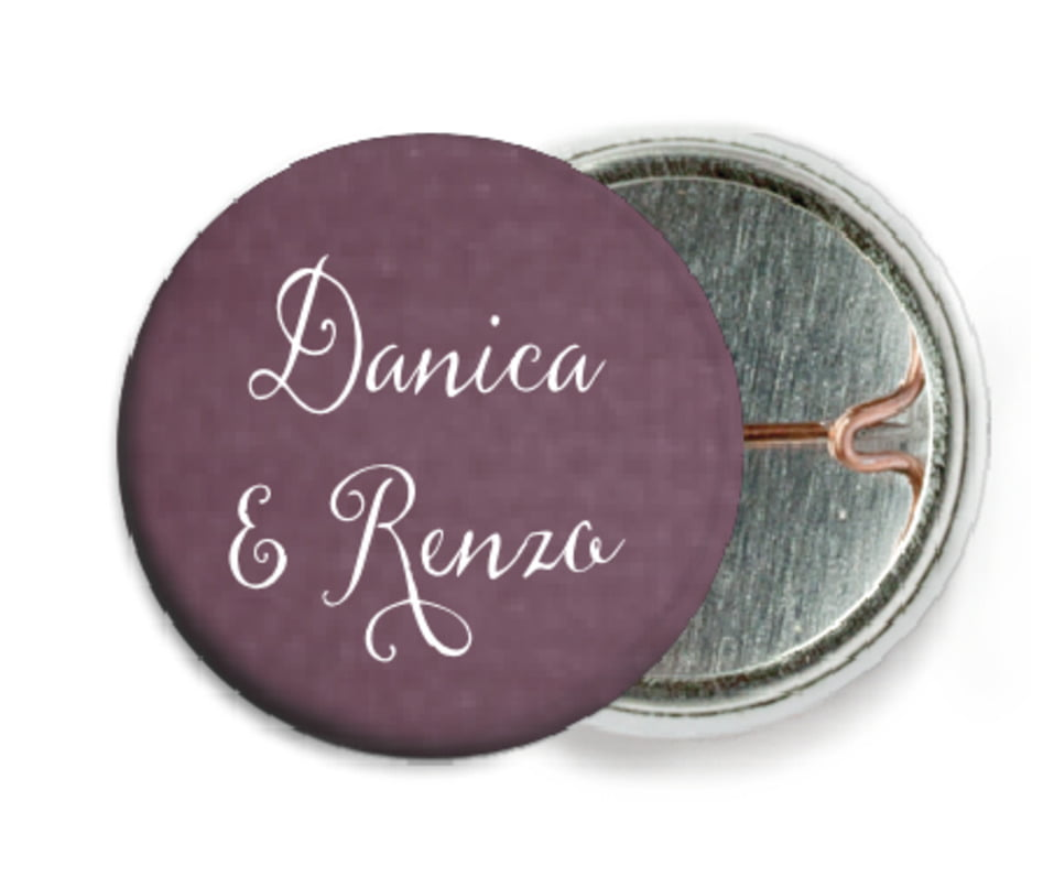 custom pin back buttons - wine - scallop edge (set of 6)