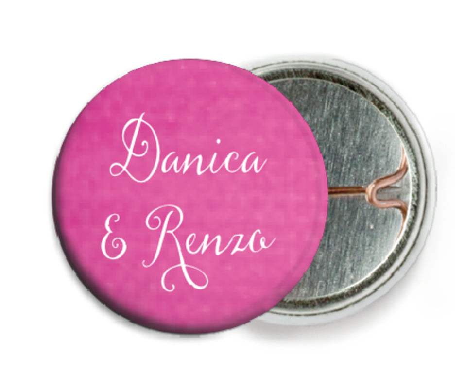 custom pin back buttons - bright pink - scallop edge (set of 6)