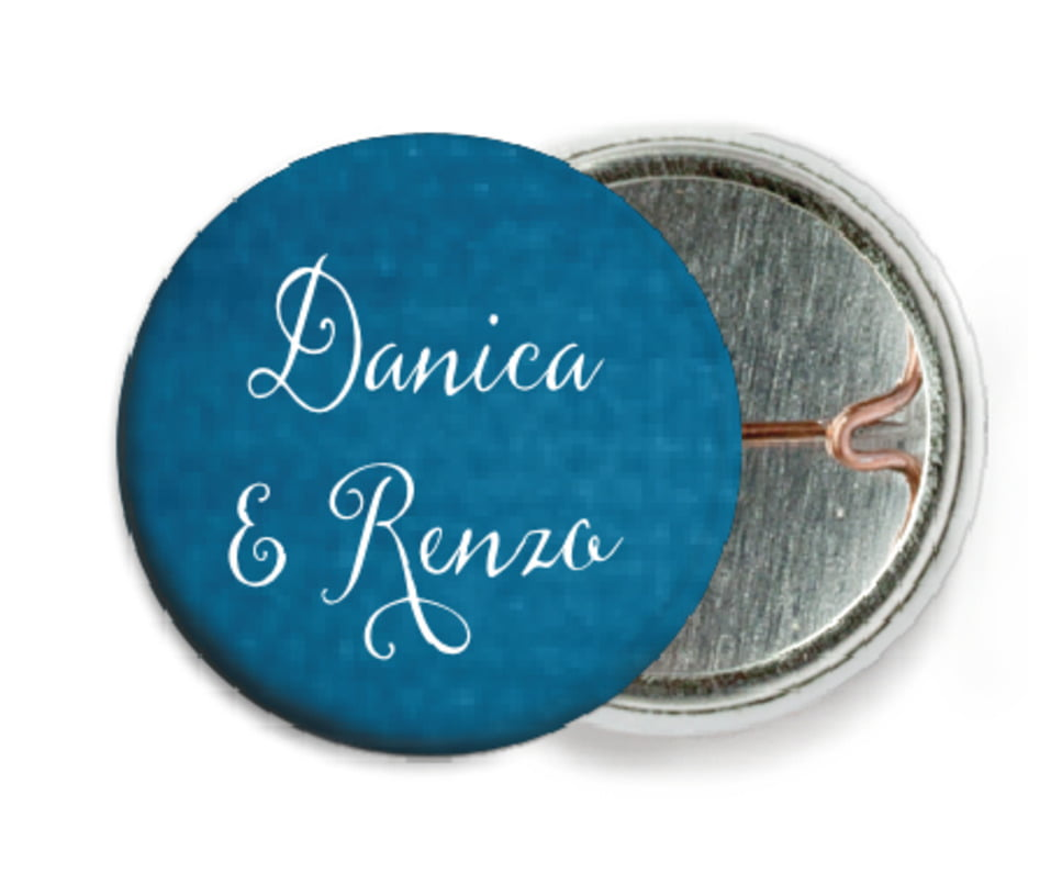 custom pin back buttons - bahama blue - scallop edge (set of 6)