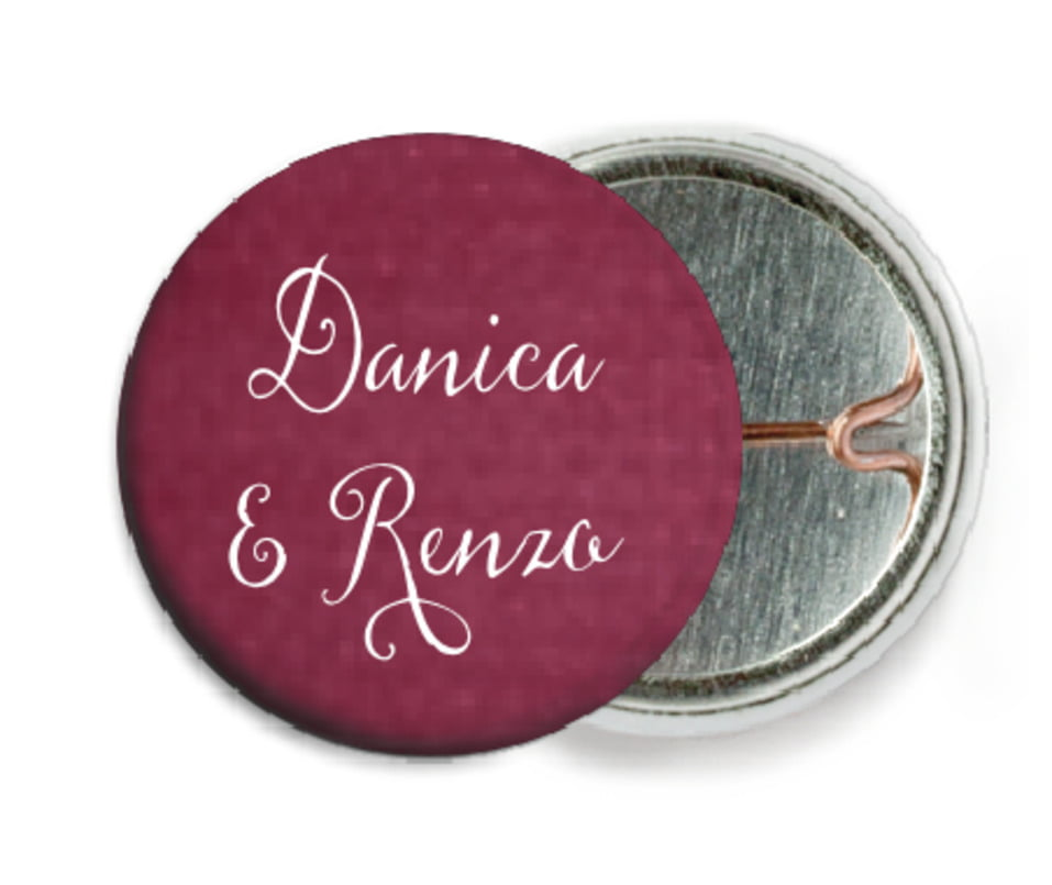 custom pin back buttons - burgundy - scallop edge (set of 6)