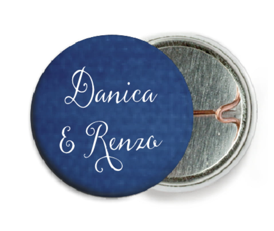 custom pin back buttons - deep blue - scallop edge (set of 6)