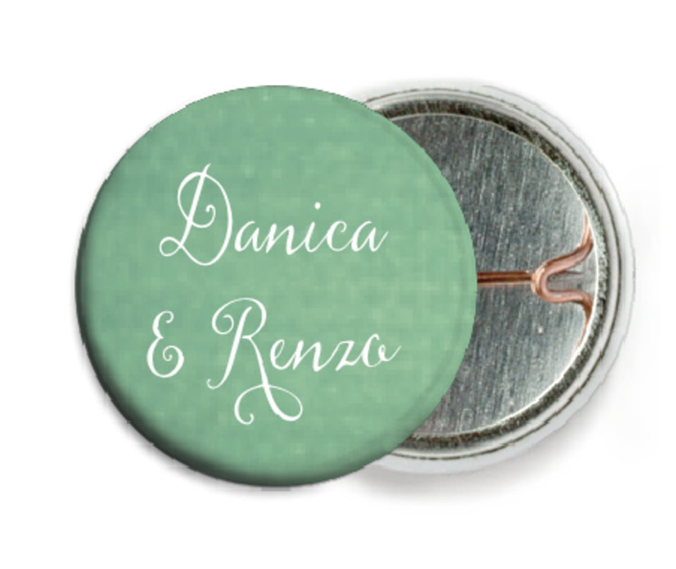 custom pin back buttons - mint - scallop edge (set of 6)