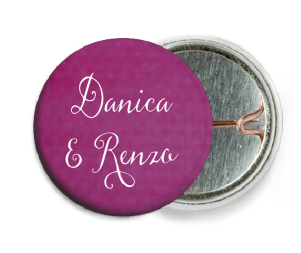 custom pin back buttons - radiant orchid - scallop edge (set of 6)