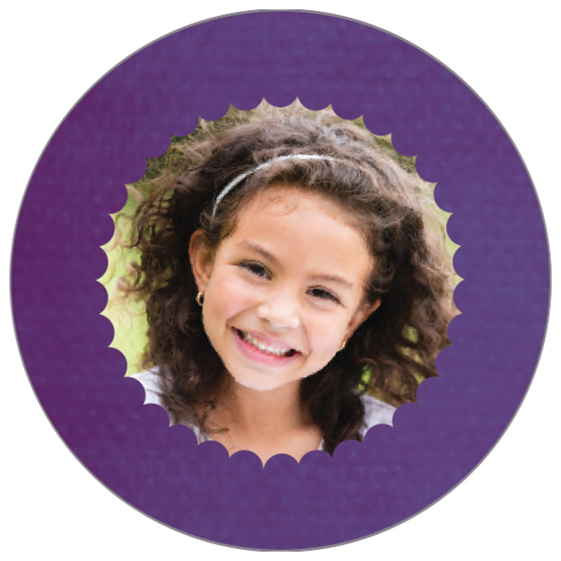 circle photo labels - plum - scallop edge (set of 20)