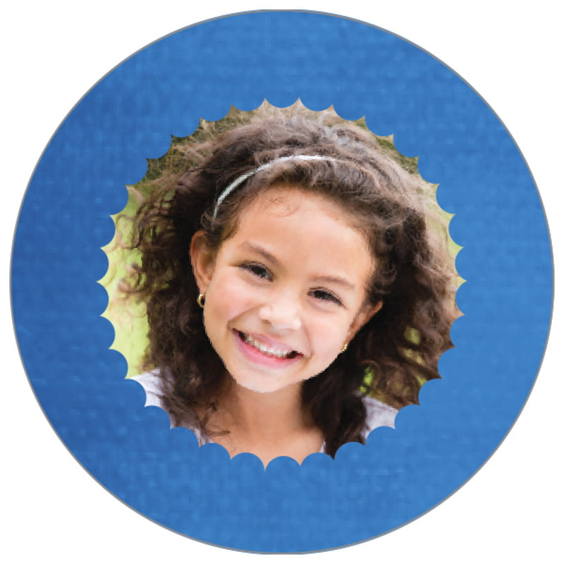 circle photo labels - cobalt - scallop edge (set of 20)