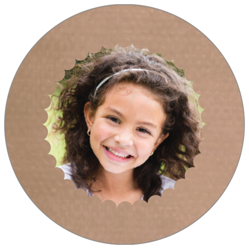 circle photo labels - mocha - scallop edge (set of 20)