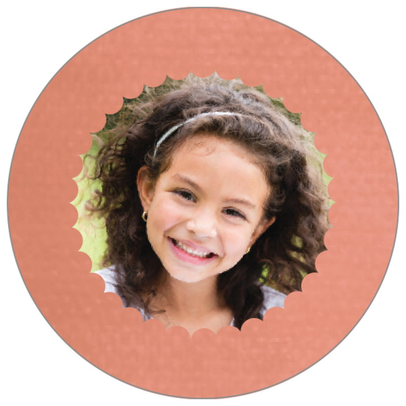 circle photo labels - peach - scallop edge (set of 20)