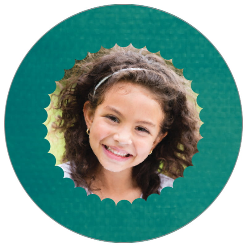 circle photo labels - turquoise - scallop edge (set of 20)