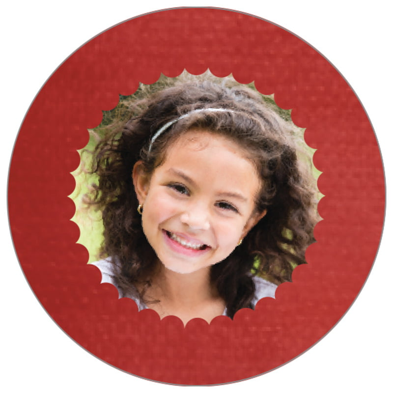 circle photo labels - deep red - scallop edge (set of 20)