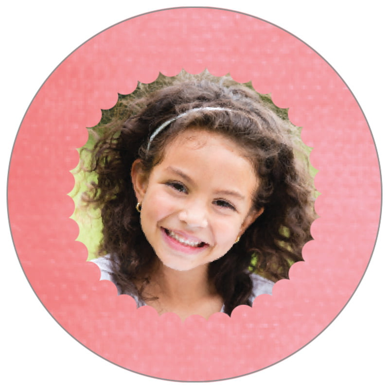 circle photo labels - grapefruit - scallop edge (set of 20)