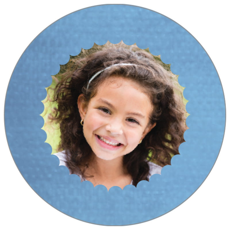 circle photo labels - blue - scallop edge (set of 20)