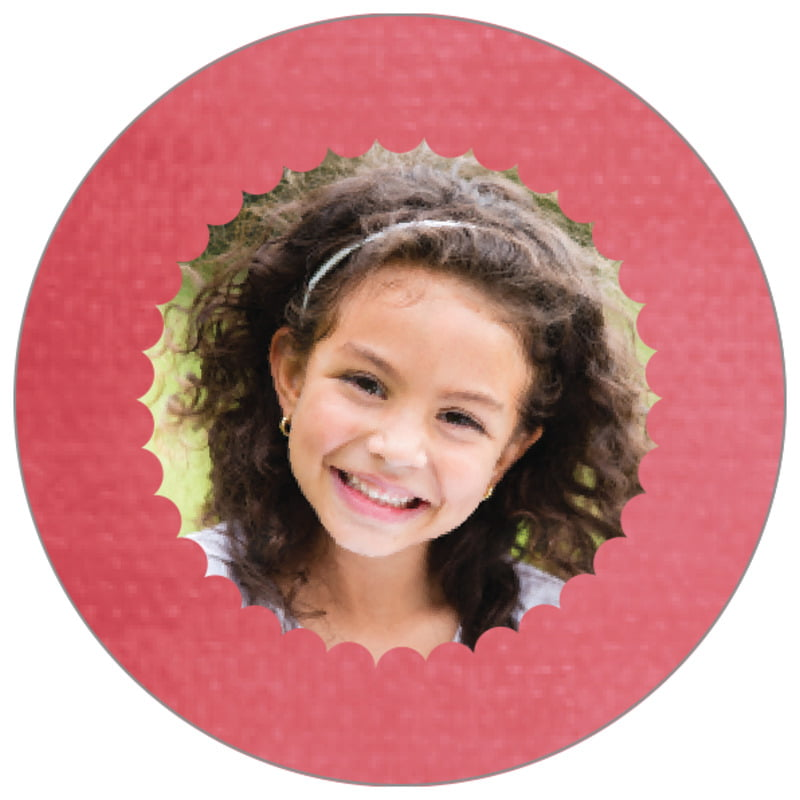 circle photo labels - deep coral - scallop edge (set of 20)