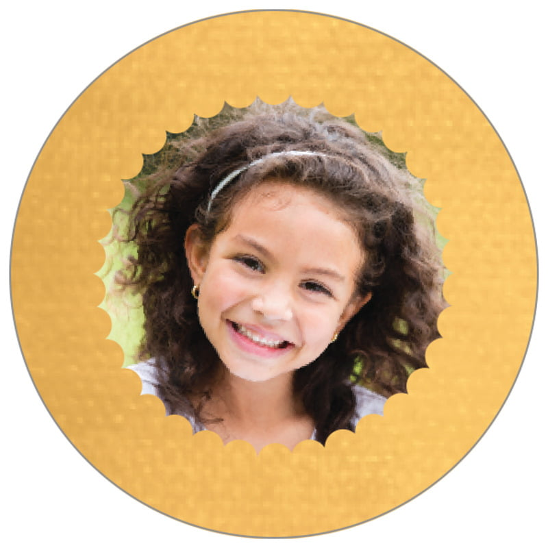 circle photo labels - sunburst - scallop edge (set of 20)