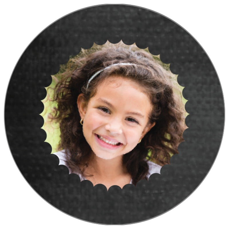 circle photo labels - tuxedo - scallop edge (set of 20)