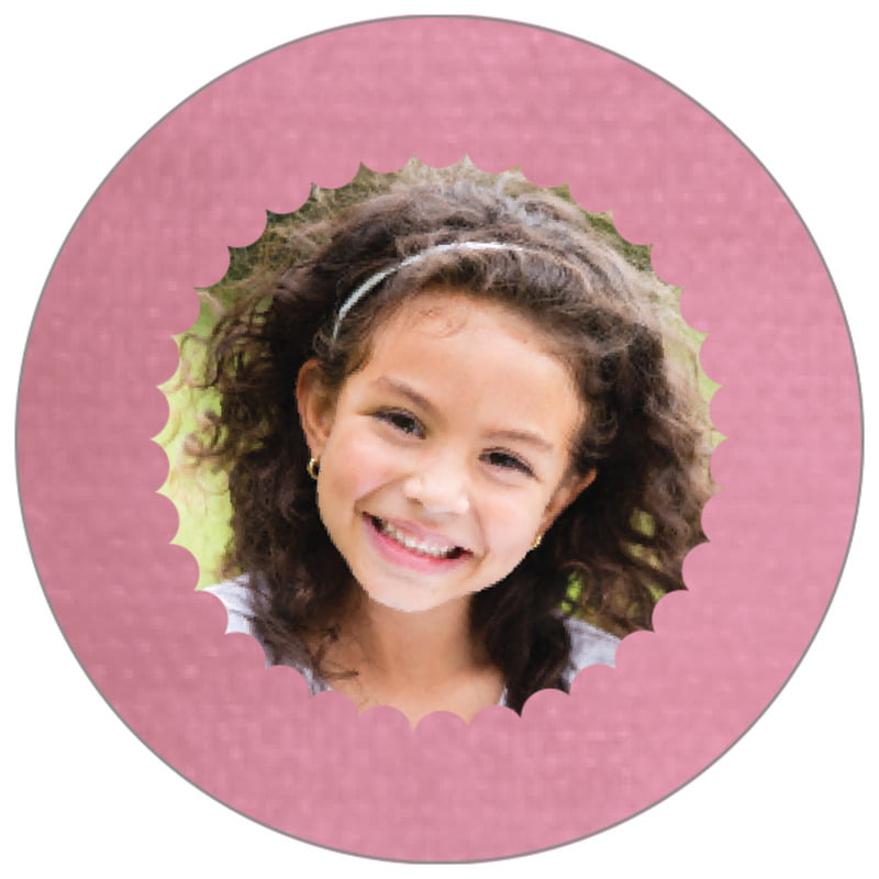 circle photo labels - pale pink - scallop edge (set of 20)