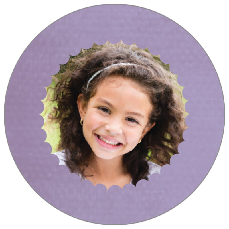 circle photo labels - lilac - scallop edge (set of 20)