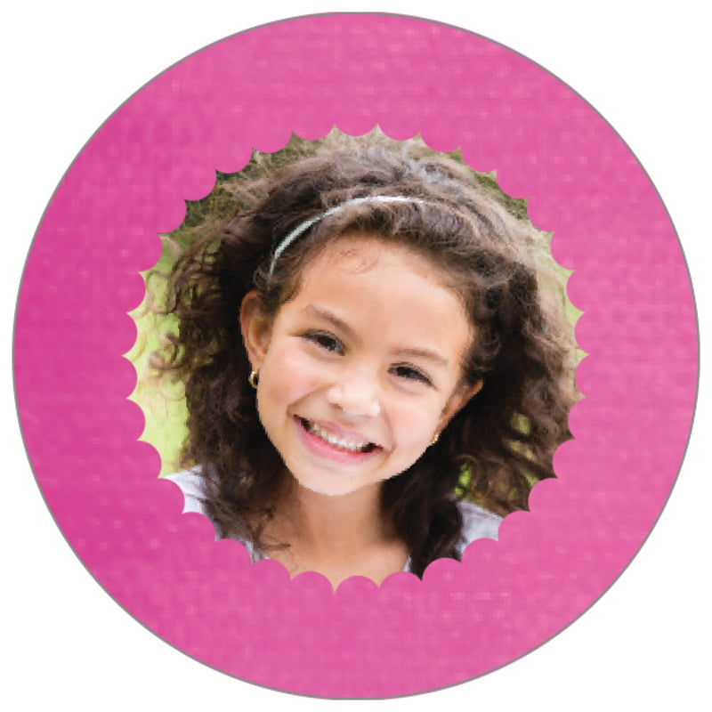 circle photo labels - bright pink - scallop edge (set of 20)