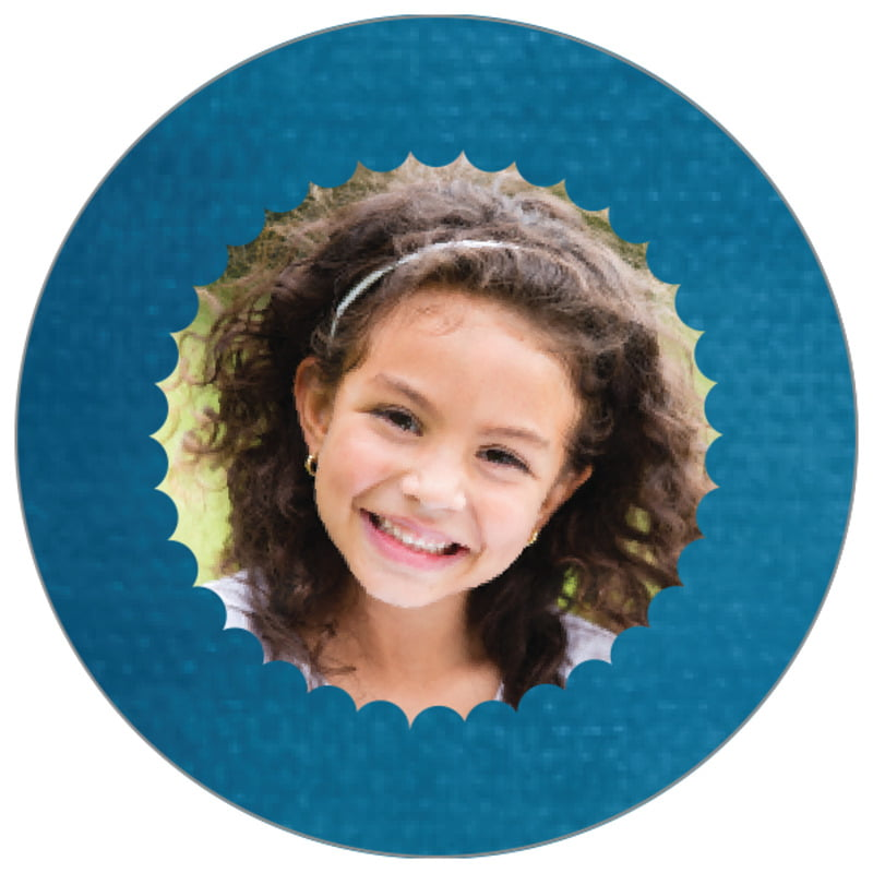 circle photo labels - bahama blue - scallop edge (set of 20)