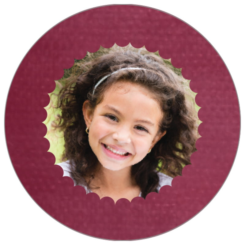 circle photo labels - burgundy - scallop edge (set of 20)