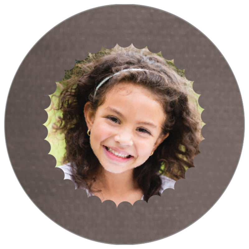 circle photo labels - saddle brown - scallop edge (set of 20)