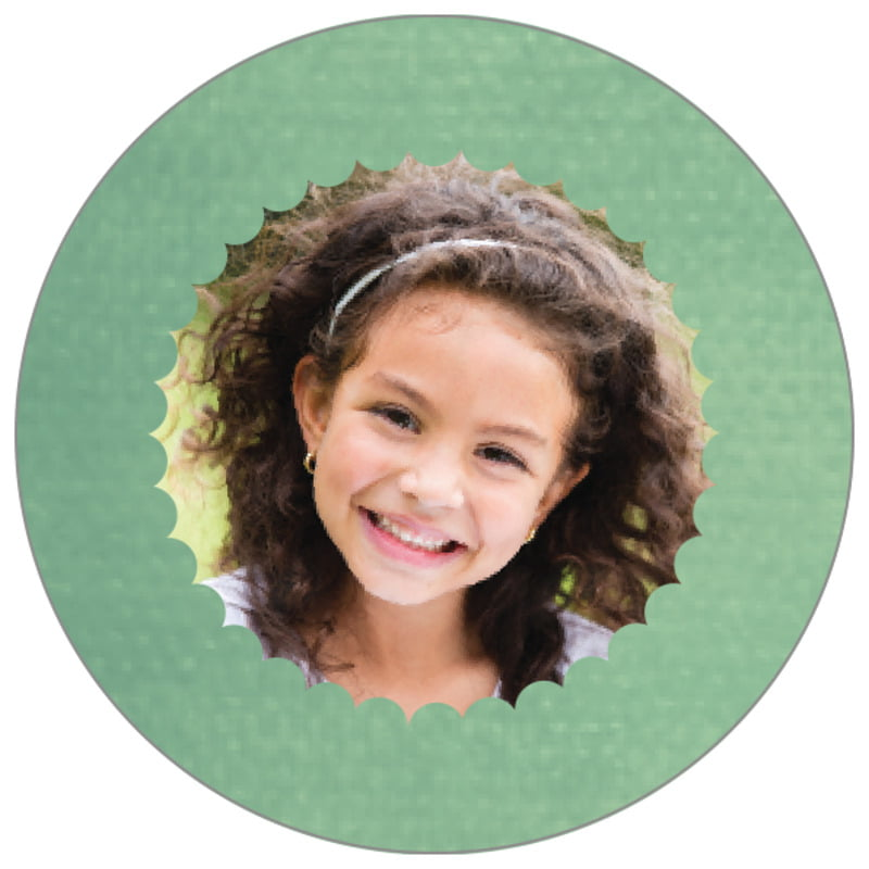 circle photo labels - mint - scallop edge (set of 20)