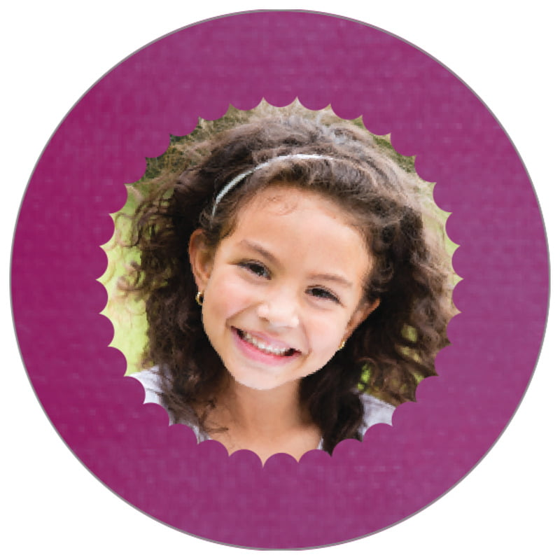 circle photo labels - radiant orchid - scallop edge (set of 20)