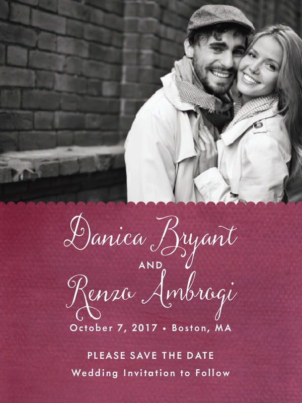 custom tall save the date cards - burgundy - scallop edge (set of 10)