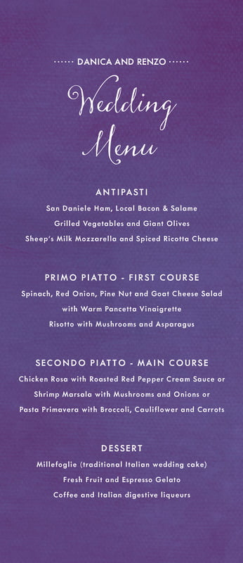 custom menus - plum - scallop edge (set of 10)