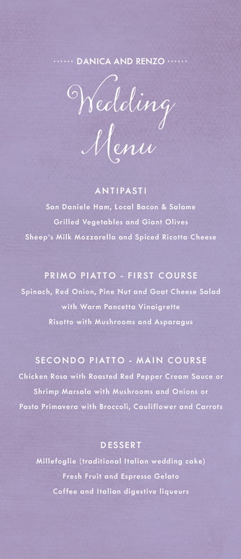 custom menus - lilac - scallop edge (set of 10)