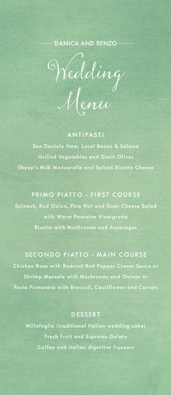 custom menus - mint - scallop edge (set of 10)