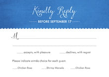custom response cards - cobalt - scallop edge (set of 10)