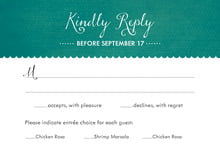 custom response cards - turquoise - scallop edge (set of 10)