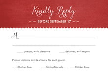 custom response cards - deep red - scallop edge (set of 10)