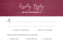 custom response cards - burgundy - scallop edge (set of 10)