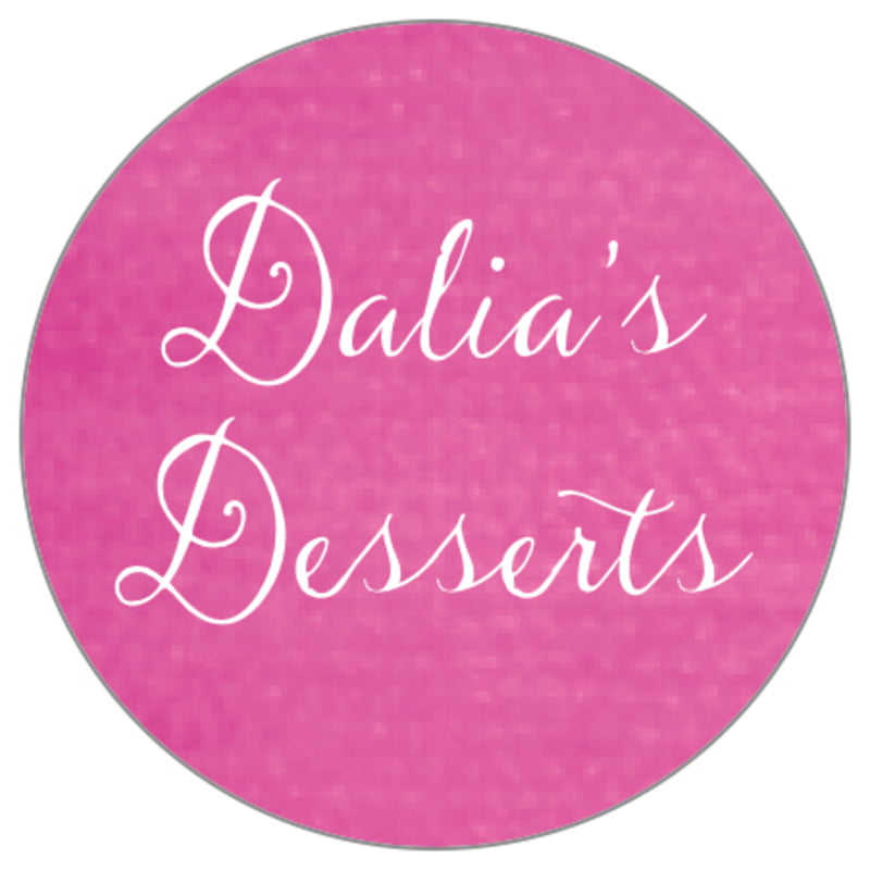 circle food/craft labels - bright pink - scallop edge (set of 35)