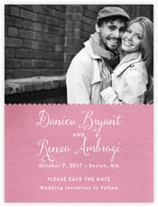 Scallop Edge Save The Date Card In Pale Pink