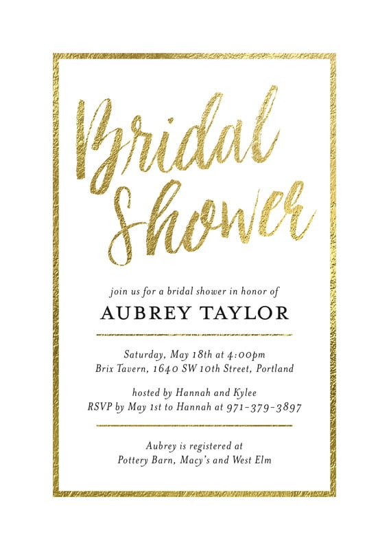 baby shower invitations - gold - bridal shimmer (set of 10)
