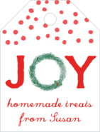 Joyful Wreath Small Luggage Tag In Deep Red