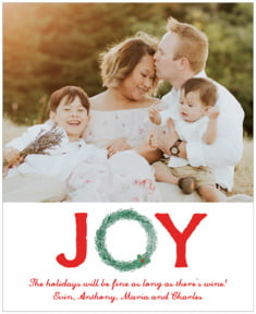 Joyful Wreath Large Label In Deep Red