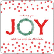 Joyful Wreath Square Coaster In Deep Red