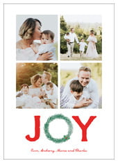 Joyful Wreath Photo Cards - Vertical In Deep Red