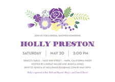 baby shower invitations - purple - bright blossom (set of 10)