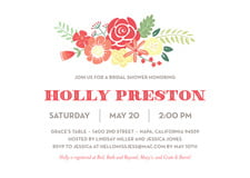 baby shower invitations - deep coral - bright blossom (set of 10)