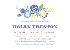 baby shower invitations - periwinkle - bright blossom (set of 10)