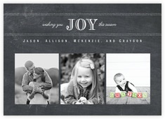 Joyful Chalkboard Photo Cards - Horizontal In Chalkboard Tuxedo