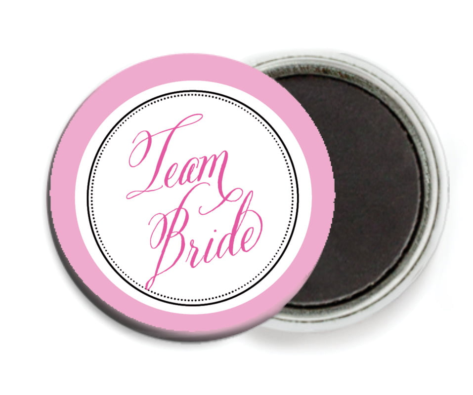 custom button magnets - bright pink - just glamorous (set of 6)